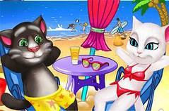 Том и Анжела - Tom And Angela Cat Beach Holiday