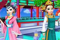 Эльза и Анна в Китае - Elsa and Anna Chinese Dressup